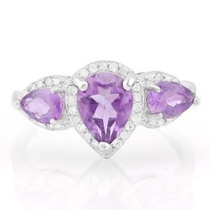 Ring 1.70 Amethyst & Diamond 925 Sterling Silver